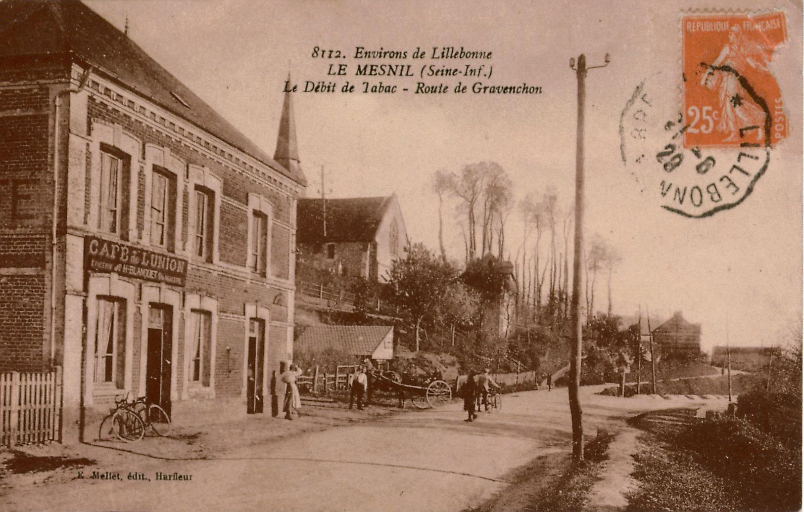 Cpa 76 LE MESNIL Environs De Lillebonne Le Débit De Tabac Café De L'Union  Route De Gravenchon, Animée, Cachet Convoyeur - Frankreich