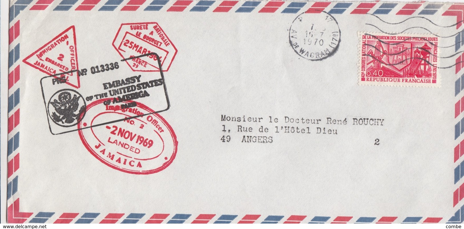 COVER. EMBASSY OF USA PARIS FRANCE. SURETE NATIONALE LE BOURGET. IMMIGRATION OFFICE JAMAICA - Ohne Zuordnung