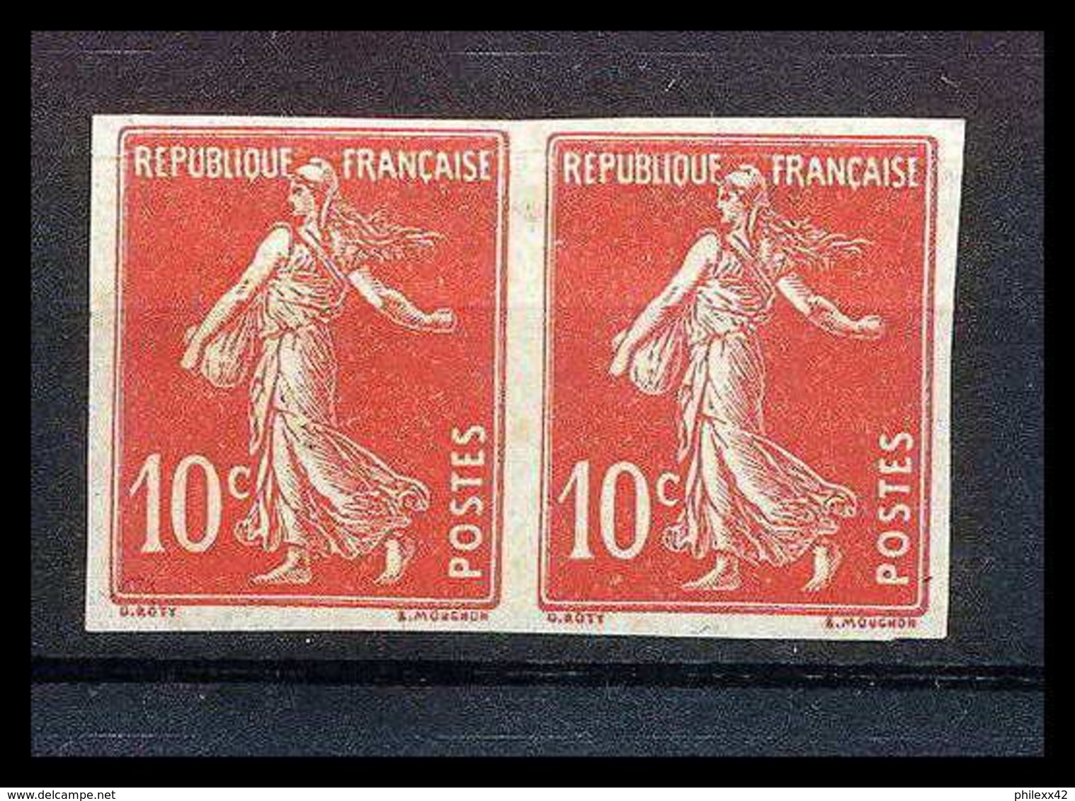 France N°138 10 C Rouge Type Semeuse Non Dentelé * MH (Imperforate) - Imperforates
