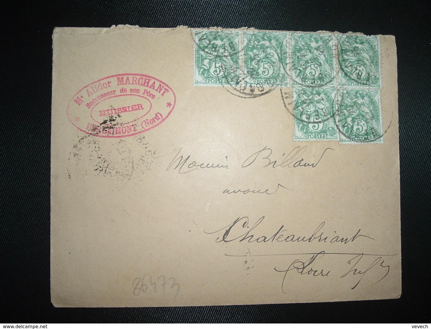 LETTRE TP BLANC 5c X6 OBL.23-7 25 BERLAIMONT NORD (59) Me Alidor MARCHANT Huissier - 1900-29 Blanc