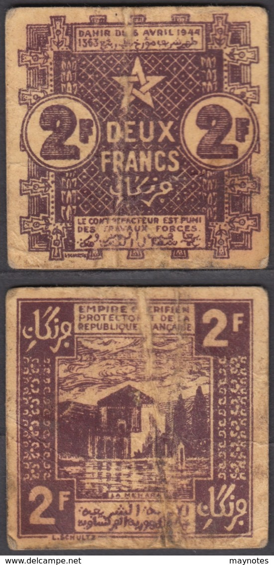 Morocco 2 Francs 1944 (F-VF) Condition Banknote P-43 - Morocco