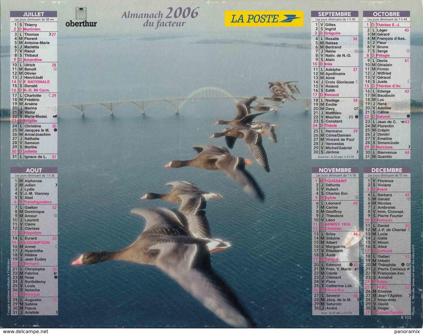 °° Calendrier Almanach La Poste 2006 Oberthur - Dépt 32 - Vols D'oies Sauvages - Groot Formaat: 2001-...