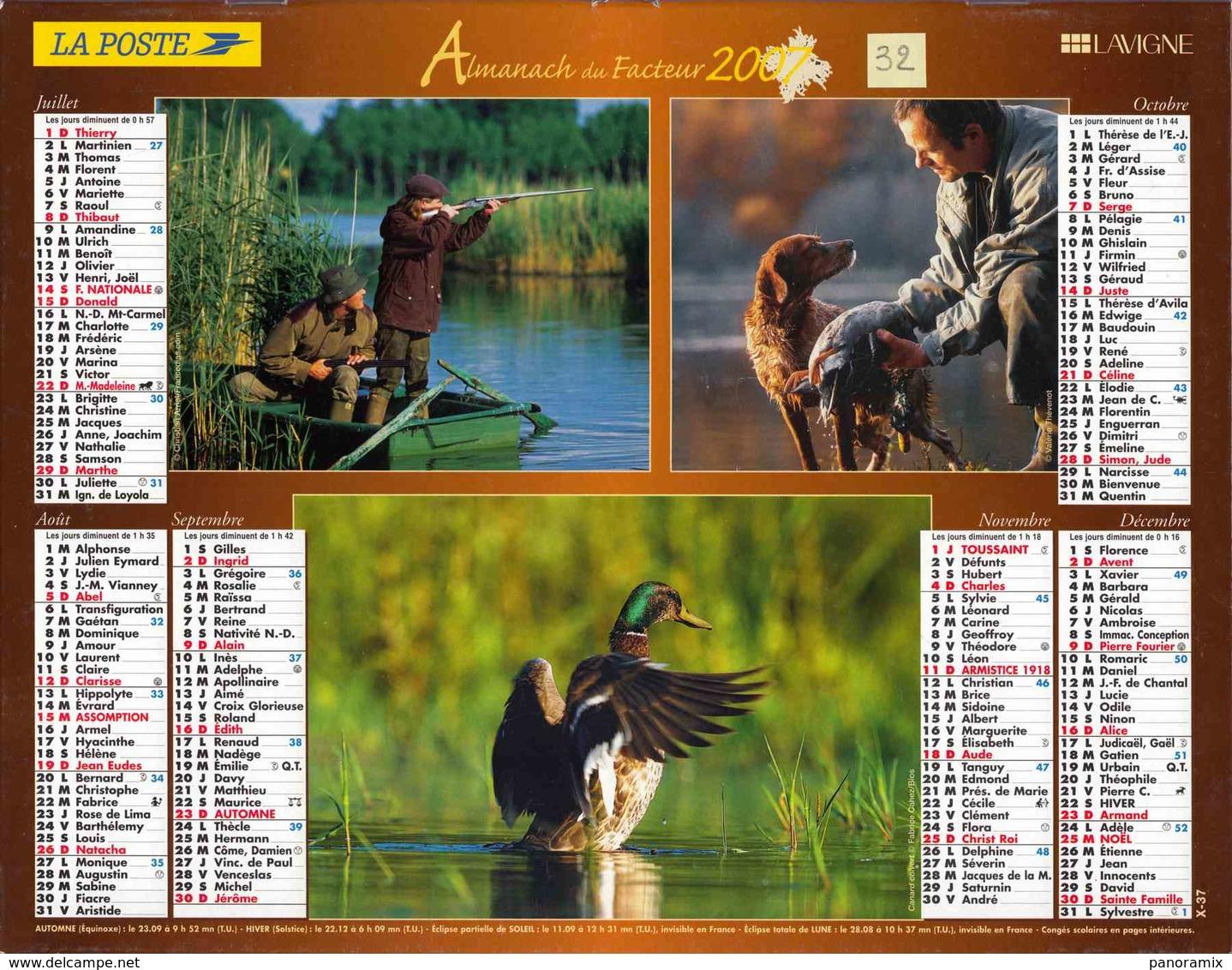 °° Calendrier Almanach La Poste 2007 Lavigne - Dépt 32 - Scènes De Pêche Et De Chasse - Groot Formaat: 2001-...