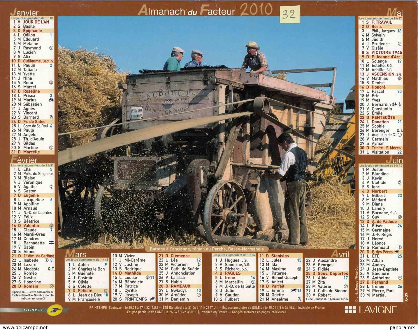 °° Calendrier Almanach La Poste 2010 Lavigne - Dépt 32 - Battage à L'ancienne Et Labours Avec Cheval - Groot Formaat: 2001-...