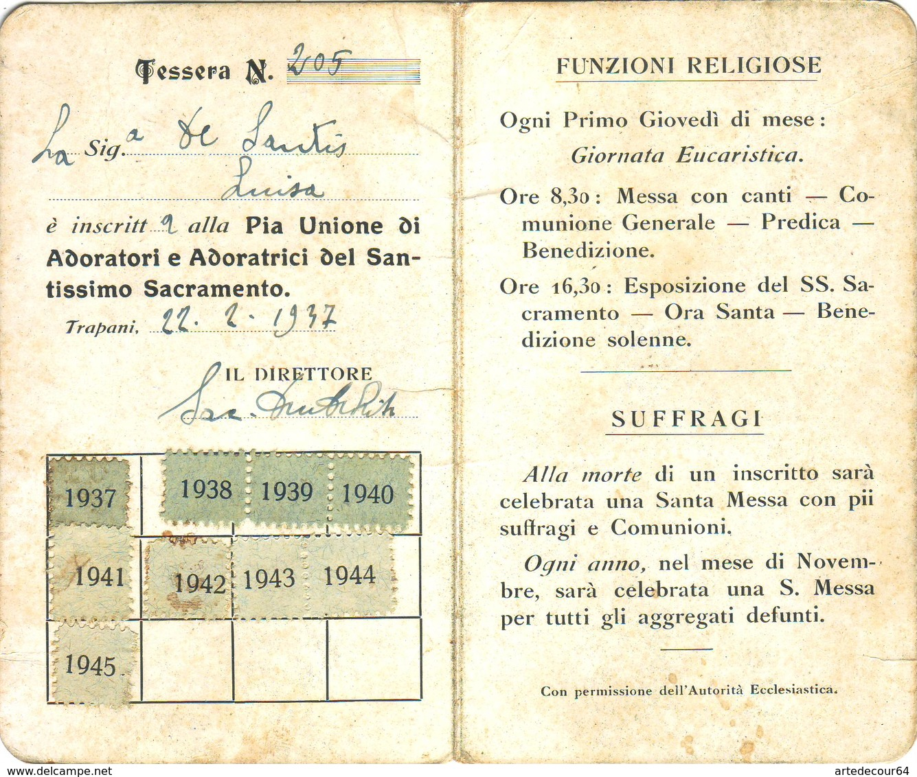 Tessera - Pia Unione Di Adoratori E Adoratrici Del Ss.sacramento - Trapani 1937 - Documentos Históricos