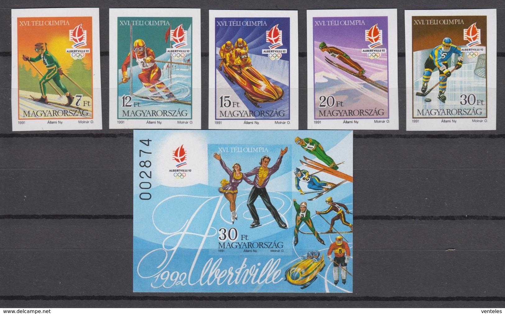 Hungary 06.12.1991 IMPERF Mi # 4175-79B Bl 219B Albertville Winter Olympics MNH OG - Invierno 1992: Albertville