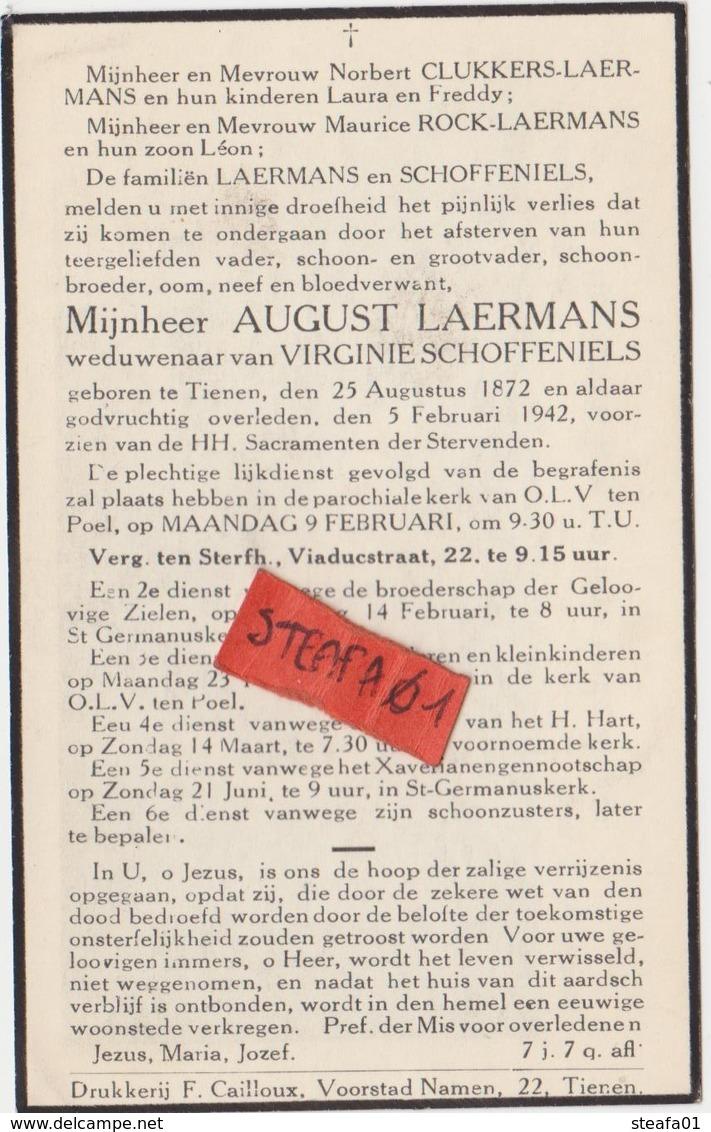Tienen, Tirlemont, Tirlemont, August Laermans, Weduwenaar Van Virginie Schoffeniels, 1942! - Avvisi Di Necrologio