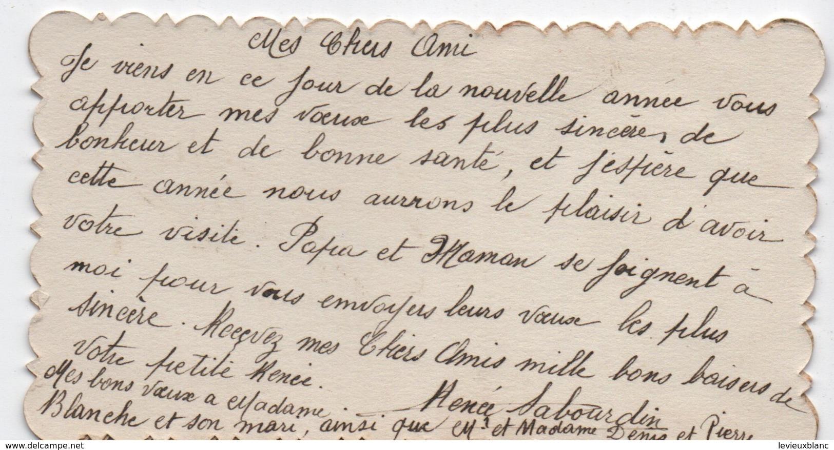 Carte De Voeux/BONNE ANNEE/Composition Florale( Pensées) En Tissu/Brodée Sur Tulle/Renée SABOURDIN/vers 1930     CVE150 - Nieuwjaar