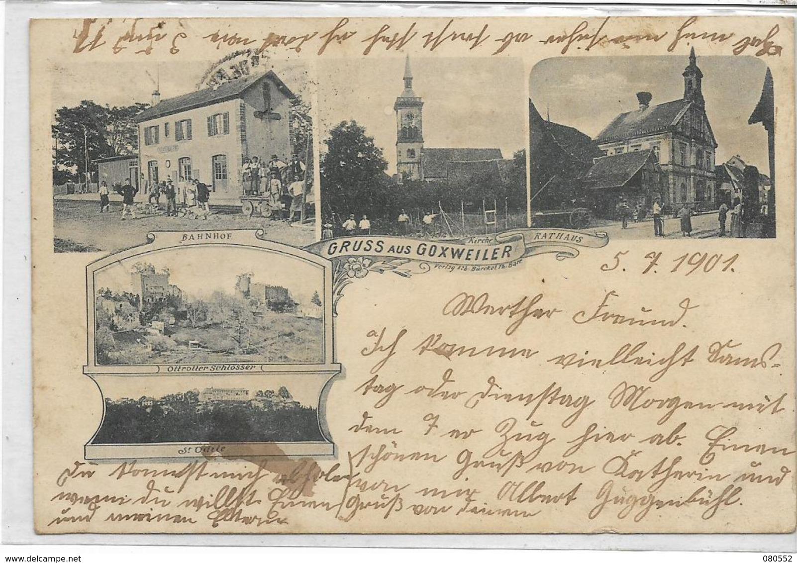 67 GOXWEILER . Bonjour En 5 Clichés Dont La Gare Animée , église , édit : Bürckel F Barr , écrite En 1901 , état Correct - Francia