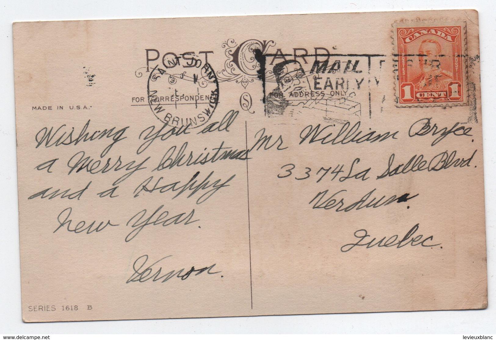 Carte De Voeux/A Bright Christmas/ Carte Postale/ Canada / Verdun/Chalets  Sous La Neige/ Vers 1925  CVE156 - Nieuwjaar