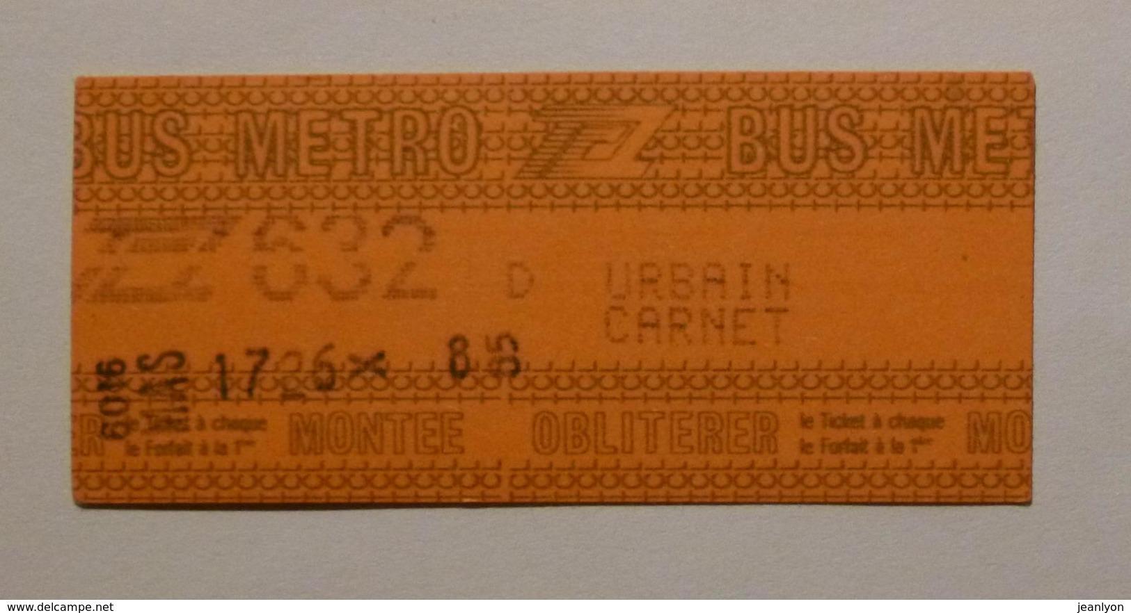 Ticket TCL Lyon (69/Rhône) - Bus Métro - Urbain Carnet 632 D ( Années 80/90 ) - Autobus