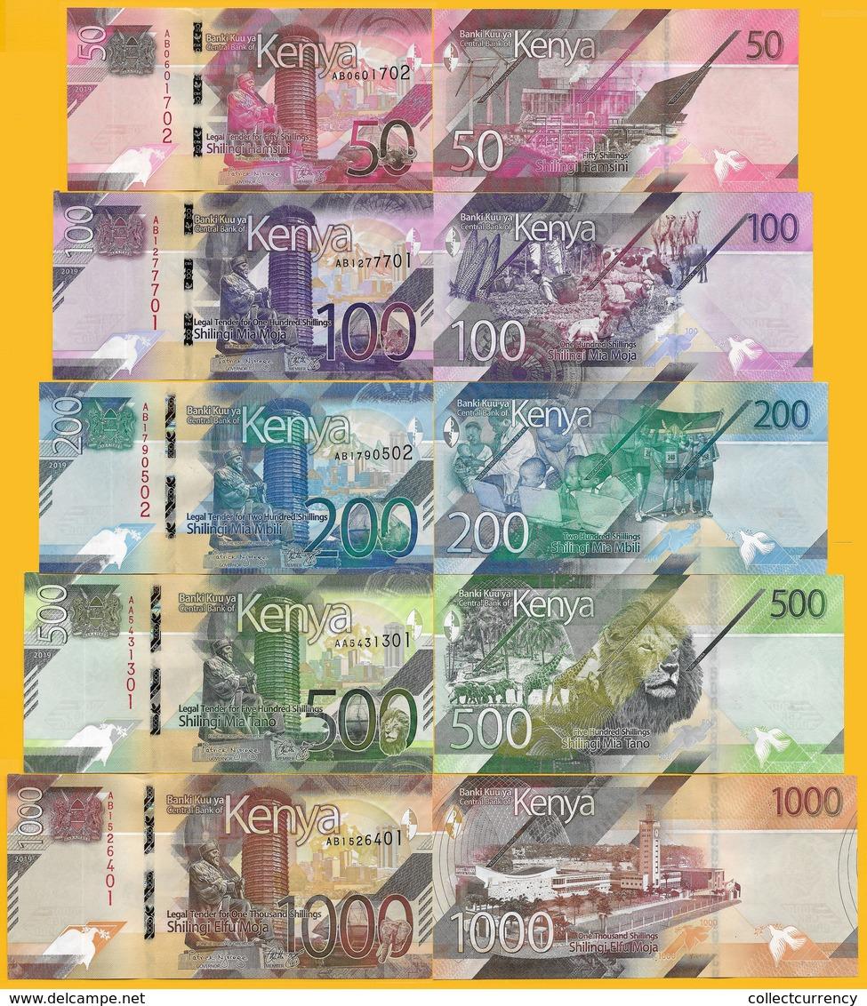Kenya Full Set 50,100,200,500,1000 Shillings P-NEW 2019 UNC Banknotes - Kenia