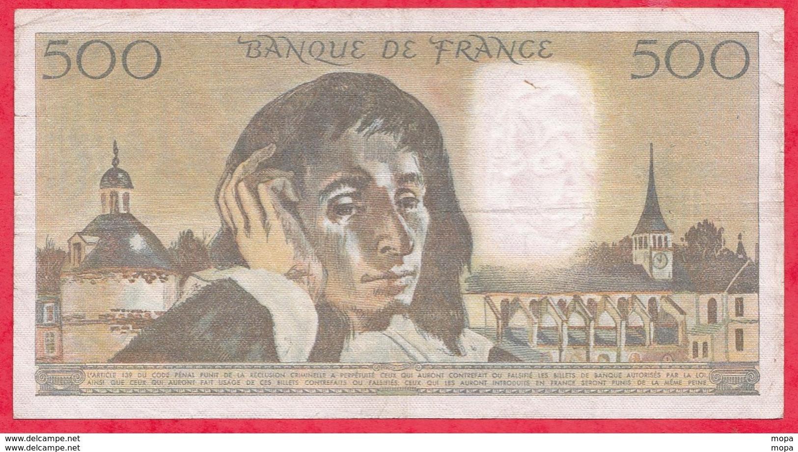 "500 Francs ""Pascal"" Du 05/07/1984.G ----F/TTB+-----ALPH .K.211 - 1962-1997 ''Francs''"