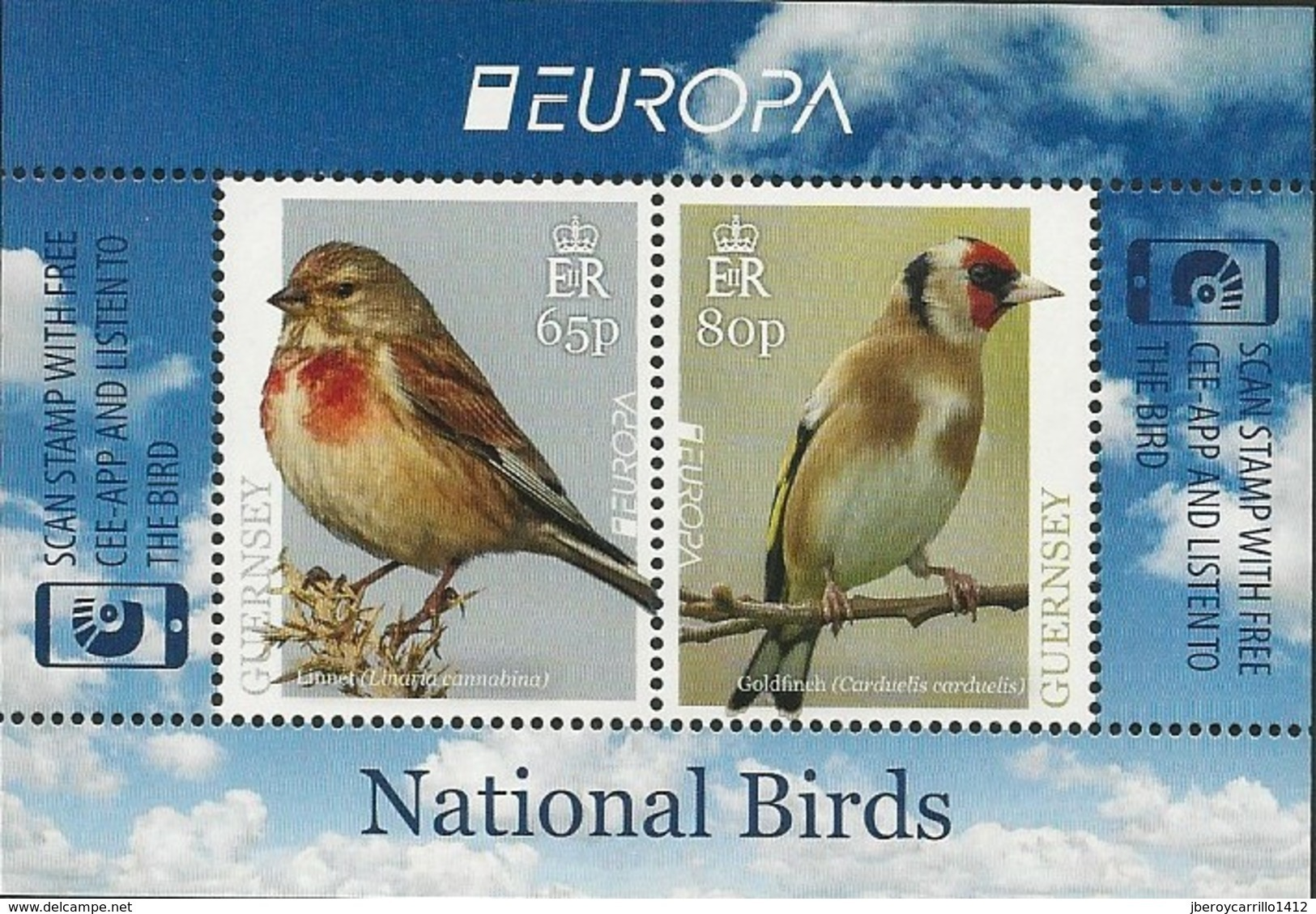 "GUERNSEY - EUROPA 2019 - NATIONAL BIRDS & SYMBOLISH.- ""AVES - BIRDS - VÖGEL - OISEAUX""- HOJITA BLOQUE - 2019"