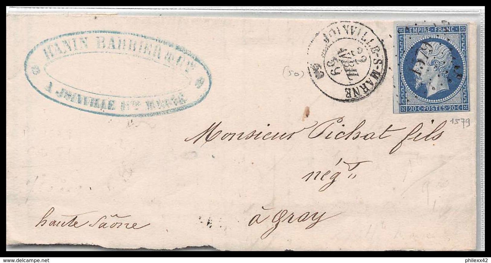 LAC Lettre Cover France 1953 Haute-Marne Napoléon N°14 T1 Pc 1579 Joinville Sur Marne Pour Gray Haute Saone 22/4/1859 - 1849-1876: Classic Period