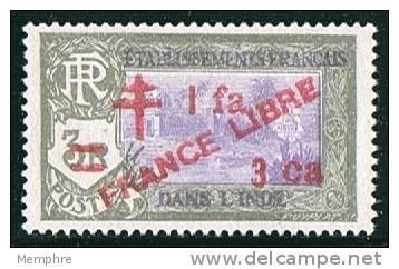 INDE ßurcharge «Croix De Lorraine Et FRANCE LIBRE» 1 Fa 3 Ca Sur 3R   Maury  256  ** - India (1892-1954)