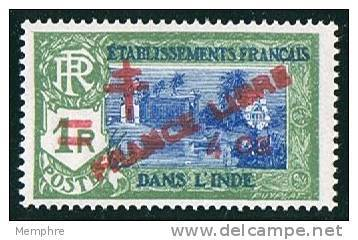 INDE Surcharge «Croix De Lorraine Et FRANCE LIBRE» 4 Ca Sur 1R  Maury  250  **  Signé - Ungebraucht