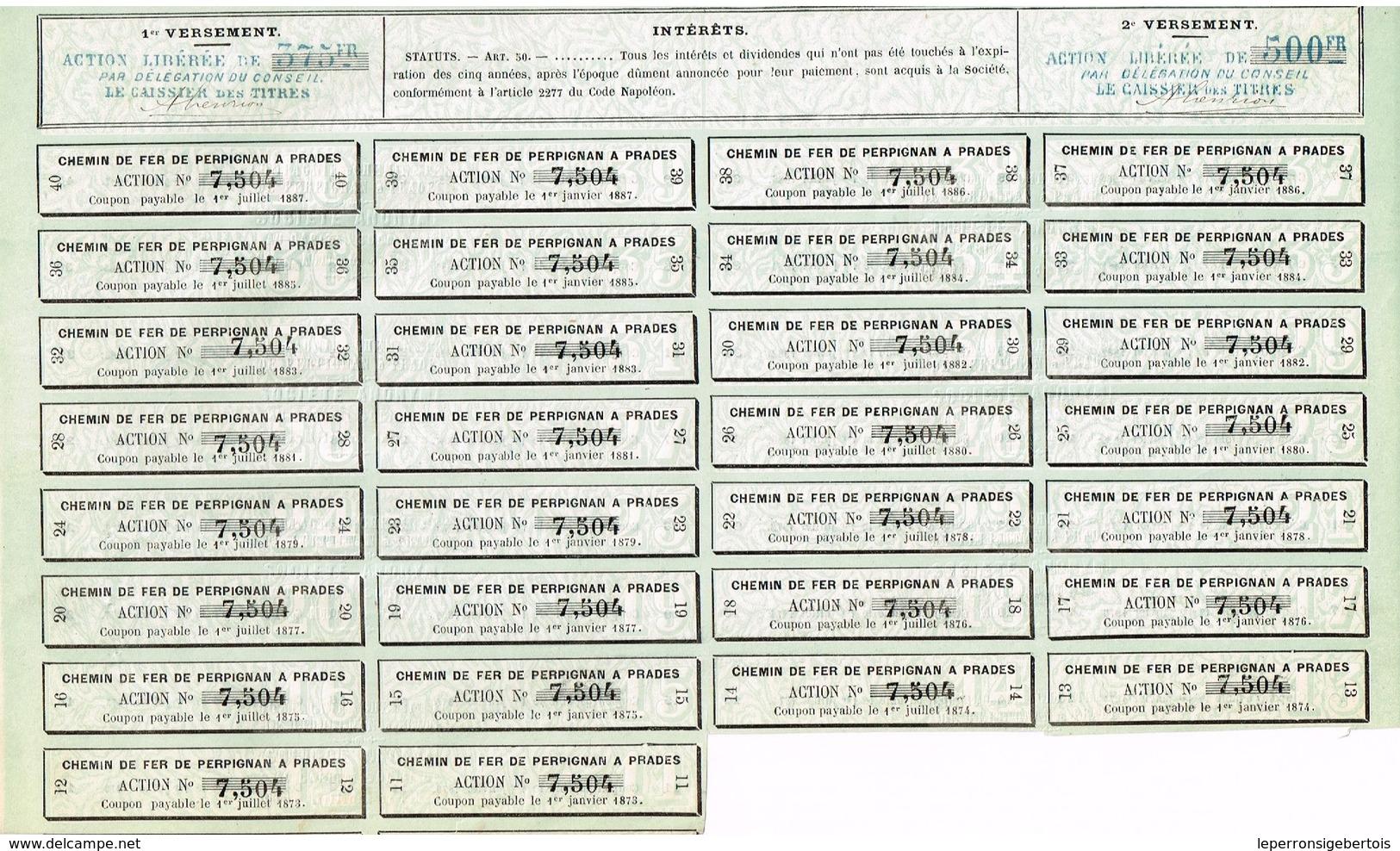 Titre Ancien - Compagnie Du Chemin De Fer De Perpignan à Pradès- Société Anonyme -Titre De 1867- VF - Déco ** - Chemin De Fer & Tramway