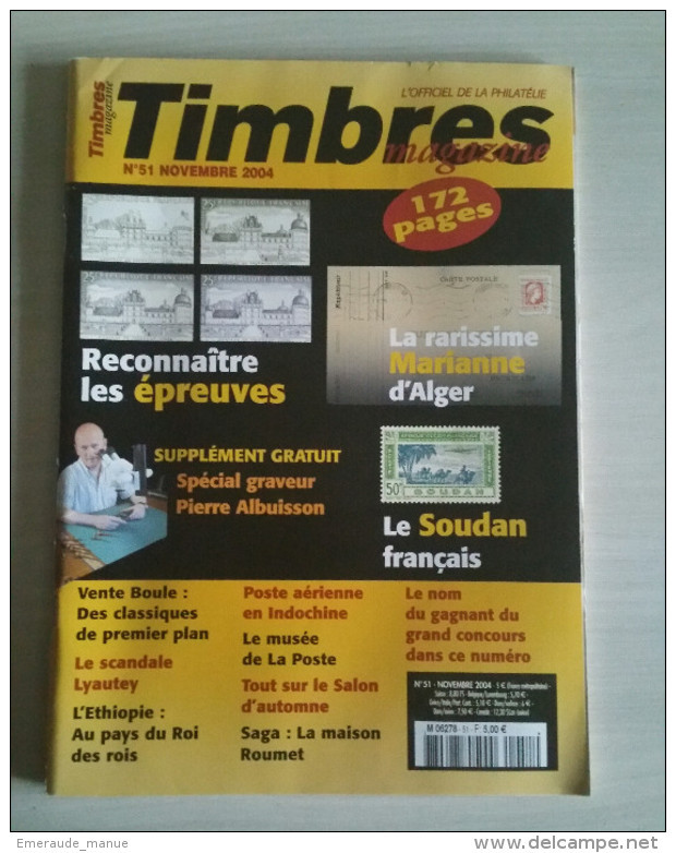 TIMBRES MAGAZINE 2004 - Novembre N° 51 (Marianne D'alger, Soudan, ...) - Magazines