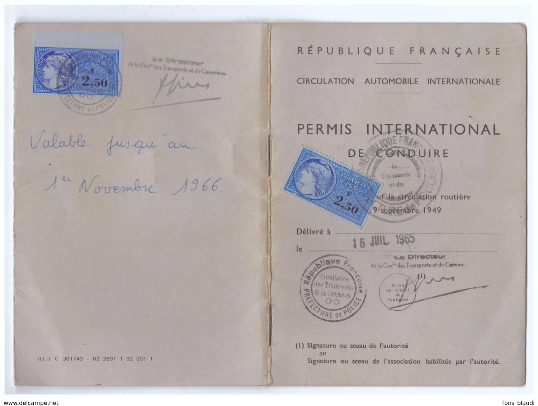 1965 - Permis De Conduire International - Timbres Fiscaux - FRANCO DE PORT - Vieux Papiers
