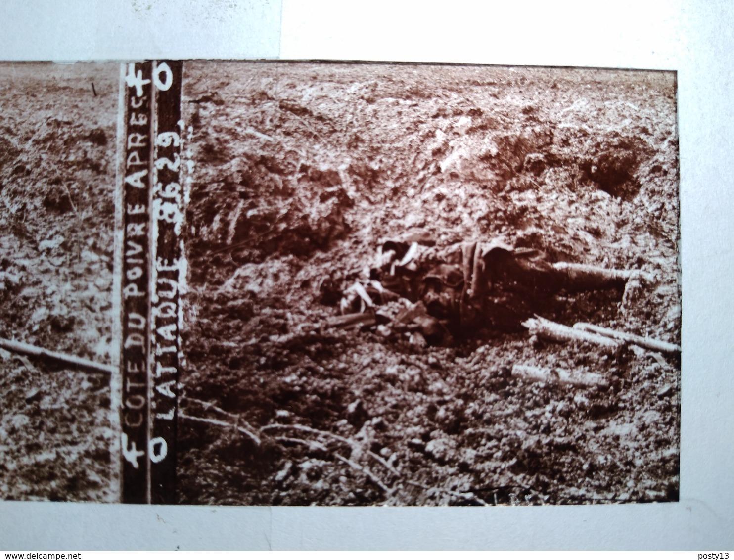 Guerre 1914-18 -  Côte Du Poivre Après L'Attaque - Cadavre -- Plaque De Verre StéréoscopiqueTBE - Plaques De Verre