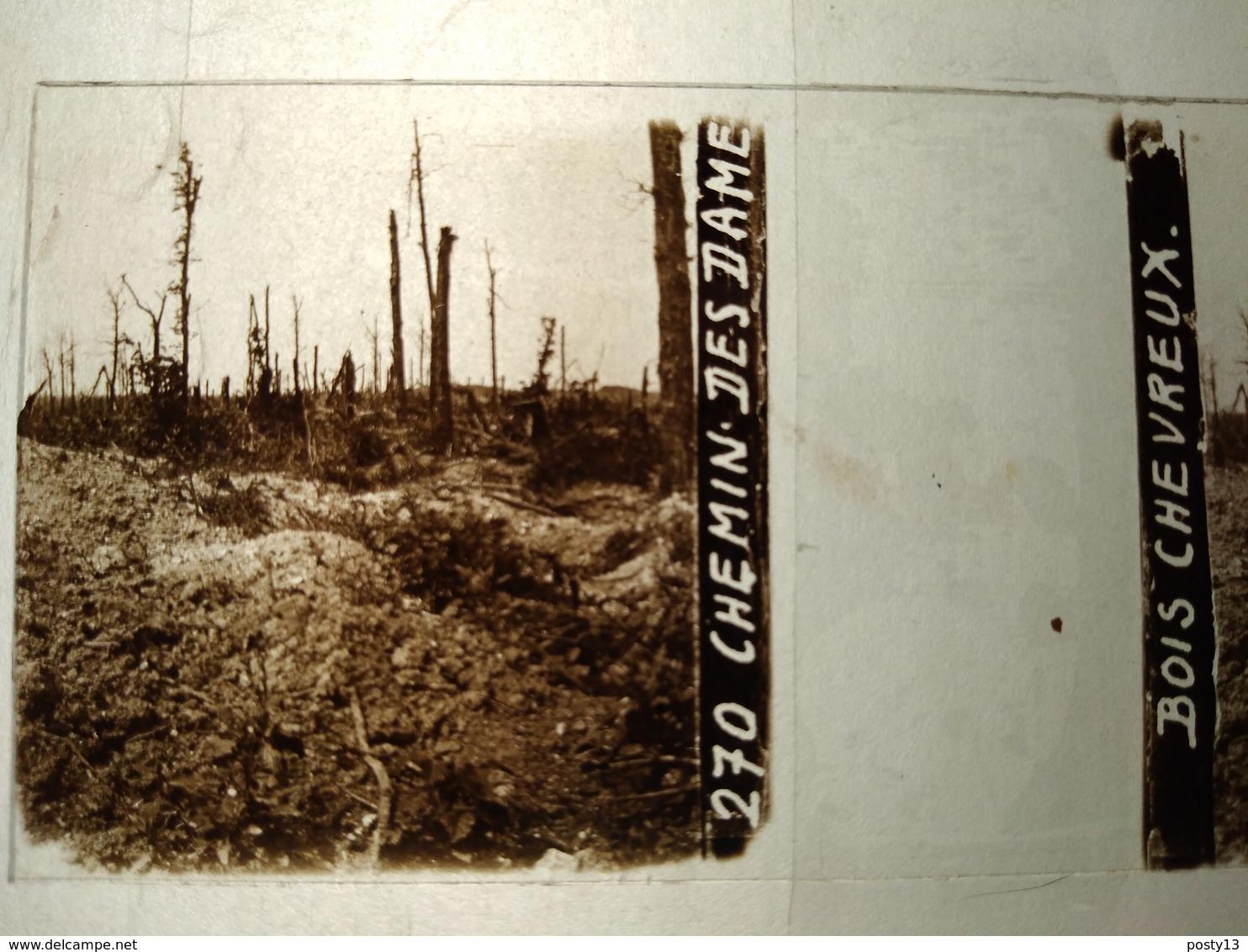 Guerre 1914-18 - Chemin Des Dames - Bois Chevreux -- Plaque De Verre StéréoscopiqueTBE - Diapositivas De Vidrio