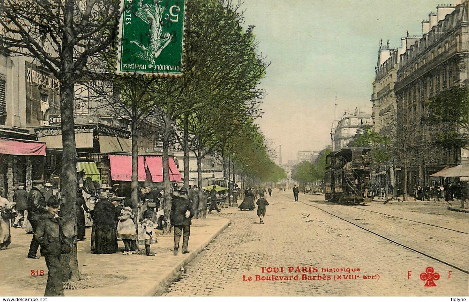 Tout Paris 18ème - N°318 - Le Boulevard Barbès - Tramway Tram - Belle Animation - Arrondissement: 18