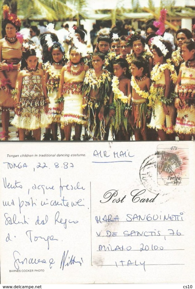 Tonga Islands - Local Children In Traditional Dancing Costume AirmailPPC 22aug1987 To Italy With Shells S47 Solo - Tonga