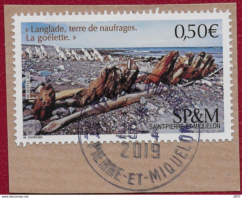 """St.Pierre Et Miquelon 2019  YT 1215  Bateau Goélette """" Langlade Terre De Naufrages """" Cachet Rond St.Pierre 2019 - St.Pierre & Miquelon"""