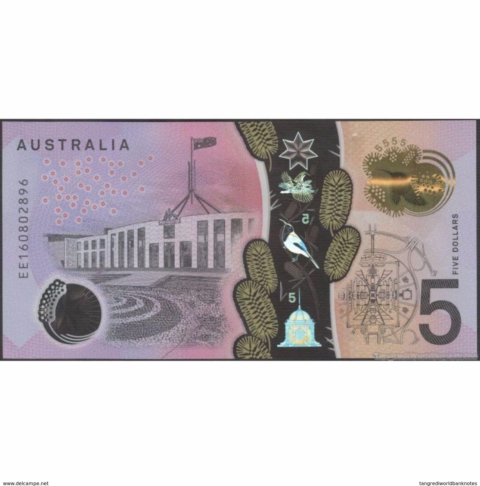 TWN - AUSTRALIA 62 - 5 Dollars 2016 - Polymer - Prefix EE - Signatures: Stevens & Fraser UNC - Australia