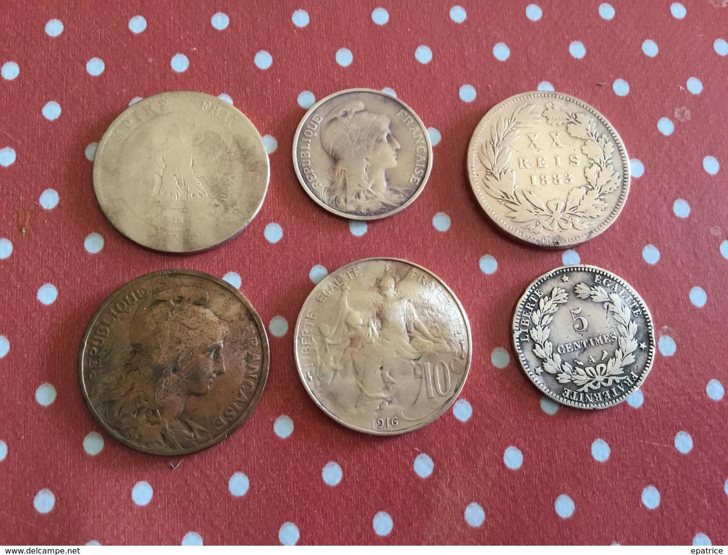 LOT 6 PIÈCES Voir Le Scan - Monnaies & Billets