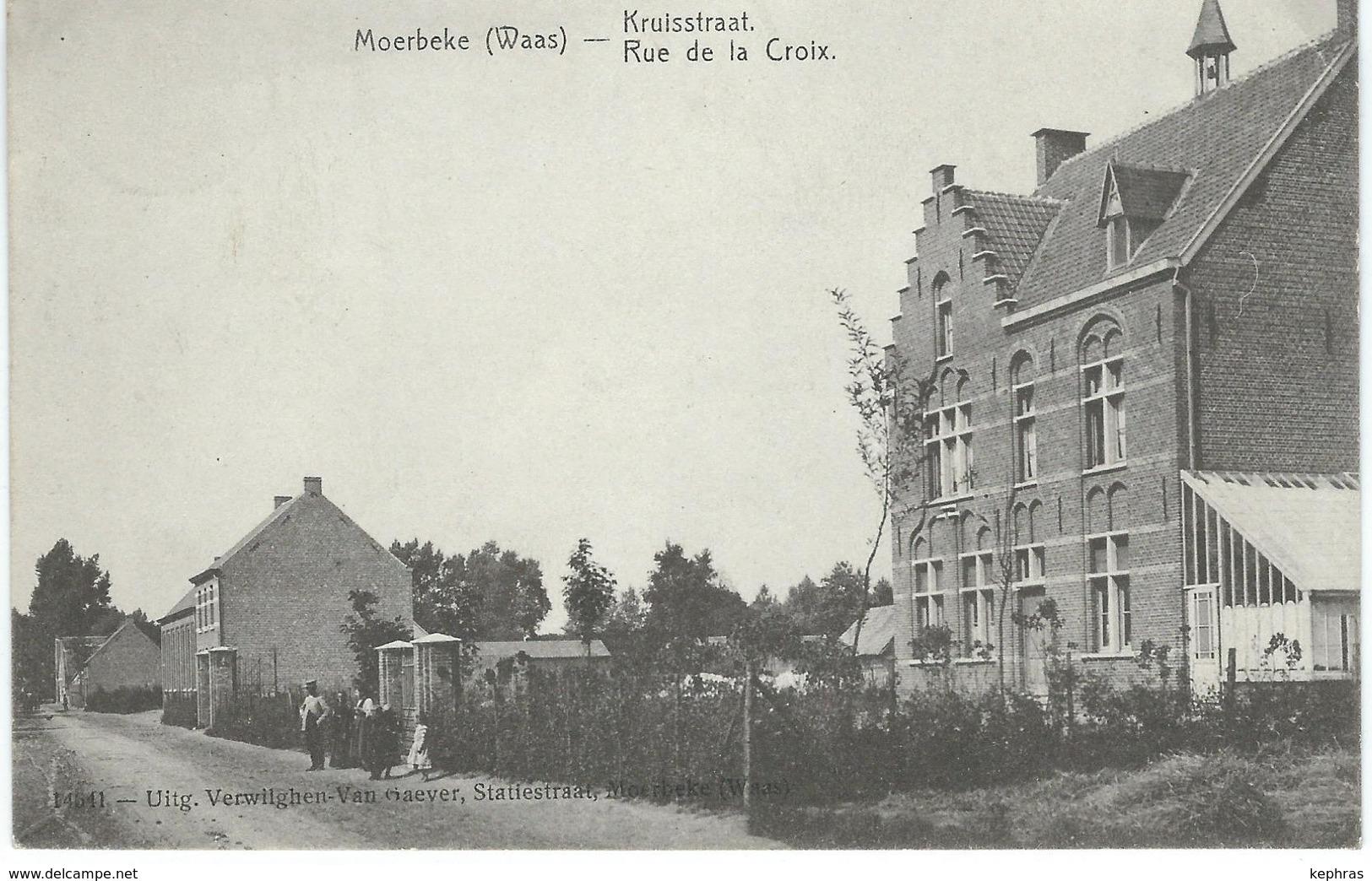 MOERBEKE-WAAS : Kruisstraat - Rue De La Croix - Cachet De La Poste 1908 - Moerbeke-Waas