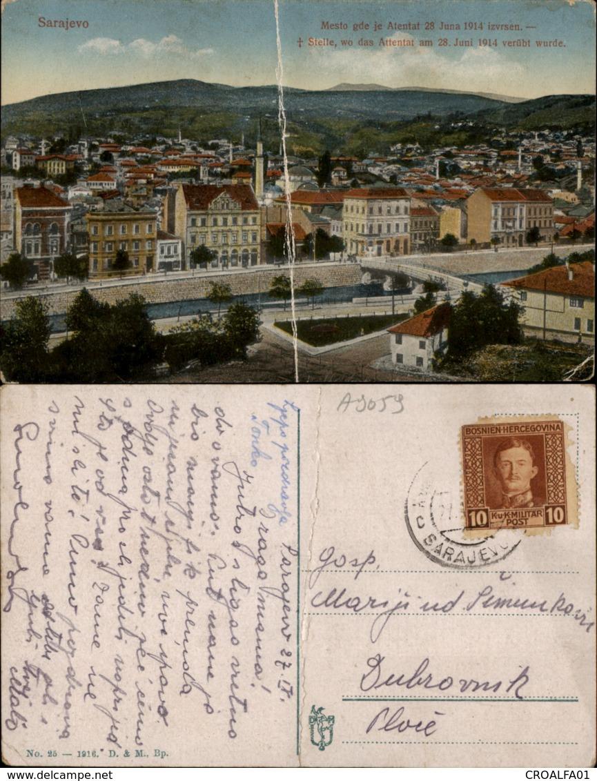 SARAJEVO PLACE OF ATENTAT 1914,BOSNIA POSTCARD - Bosnien-Herzegowina