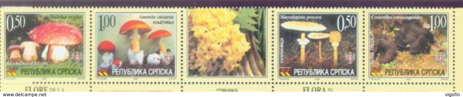 BHRS 2002-255-8 MUSHROOMS, BOSNA AND HERZEGOVINA REP. SRPSKA, 1 X 4v + LABEL, MNH - Pilze