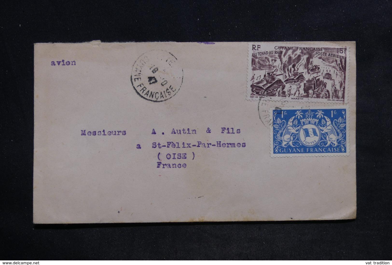 GUYANE - Enveloppe De Cayenne Pour La France En 1947 , Affranchissement Plaisant - L 34080 - Lettres & Documents