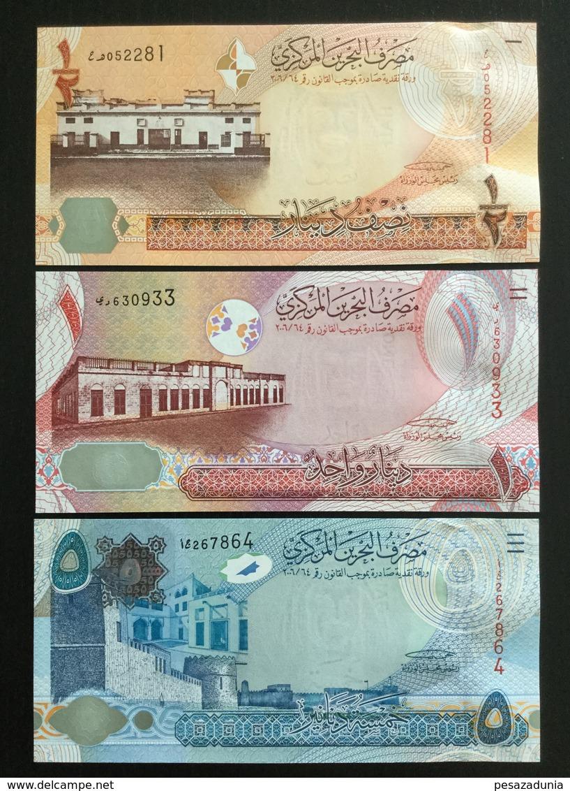 BAHRAIN SET 1/2, 1, 5 DINAR BANKNOTES 2006 UNC - Bahrein