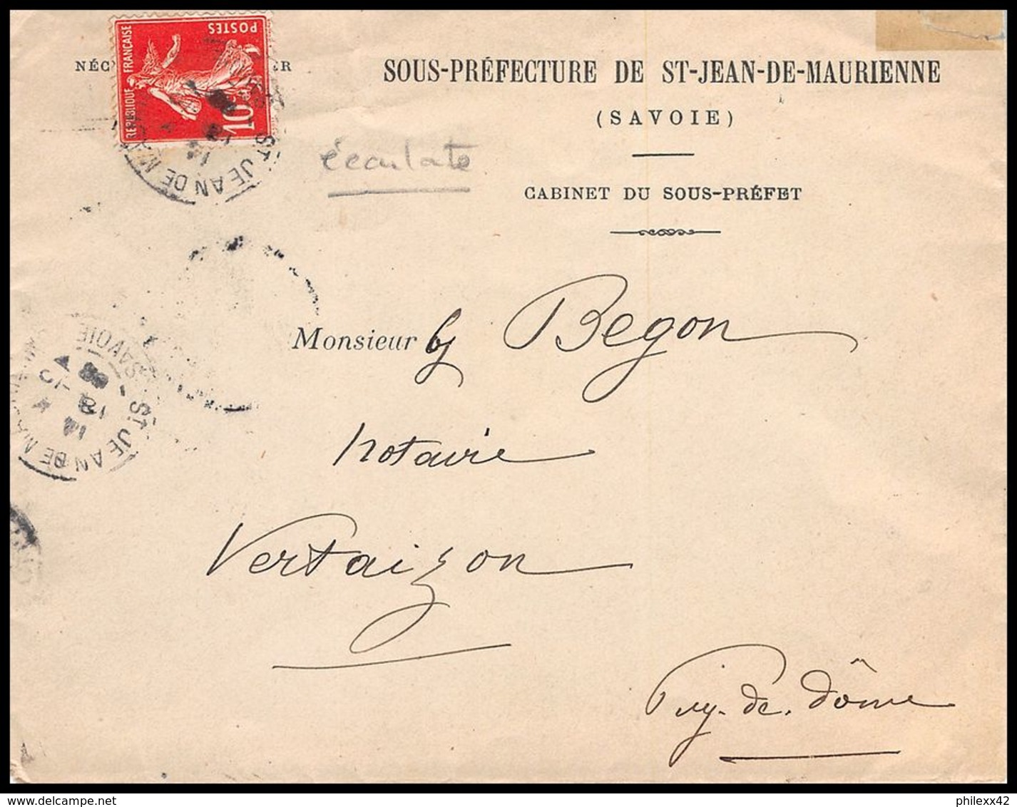 4444 France Lettre (cover) N°138 Semeuse Nuance écarlate St Bjean De Maurienne Pour Vertaizon Puy-de-Dome 1908 - Postmark Collection (Covers)