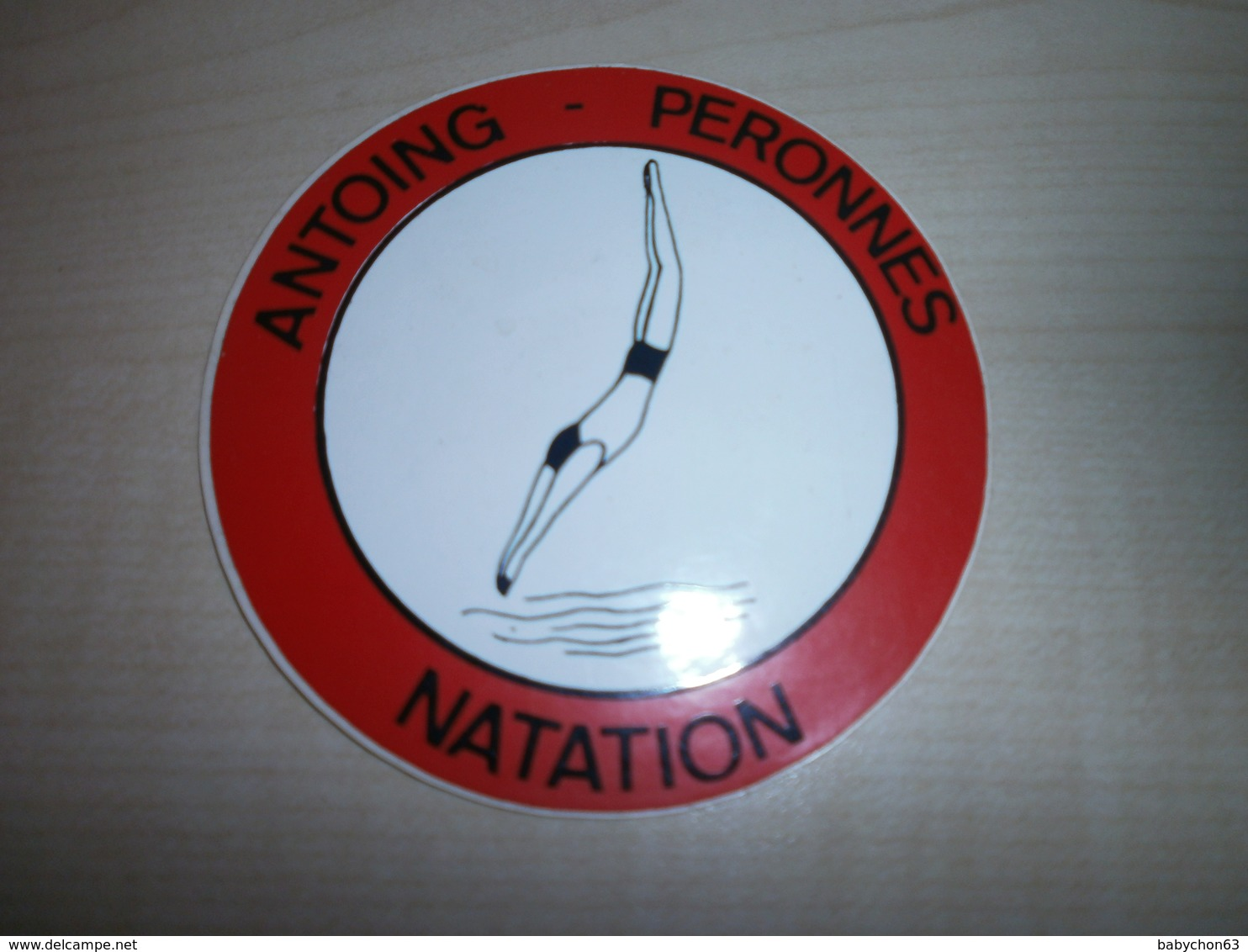 Autocollant Ancien ANTOING-PERONNES   NATATION - Vignettes Autocollantes