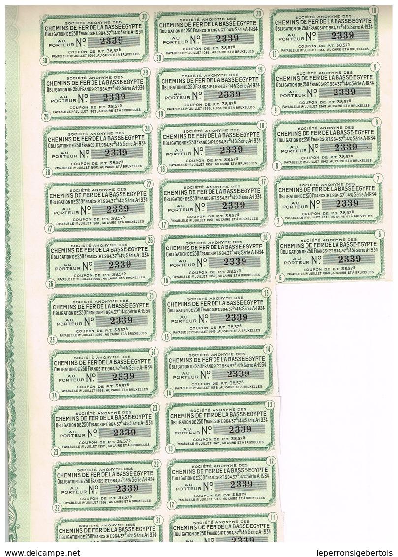Titre Ancien Société Anonyme Des Chemins De Fer De La Basse Egypte - Obligation De 250 Francs - Titre De1934 - Chemin De Fer & Tramway