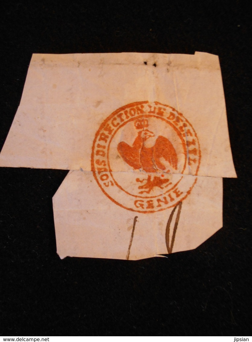Marque Postale Sous Direction De Delfzyl Génie Aigle Impériale Napoléon Pendant Le Blocus 1813/14 Chevalier Carette JM13 - Marcophilie (Lettres)