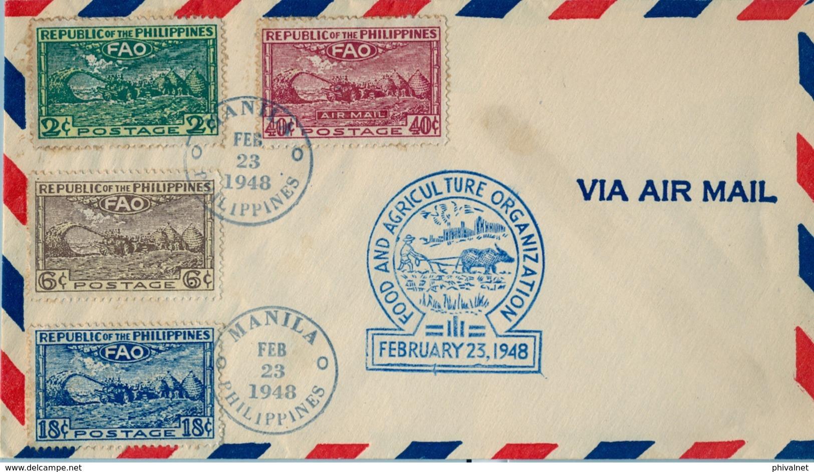 1948 FILIPINAS / PHILIPPINES , MANILA - FOOD AND AGRICULTURE ORGANIZATION , FAO - Filipinas