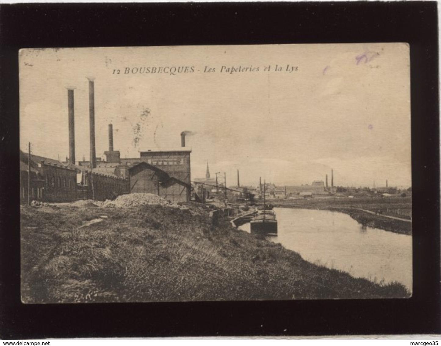 59 Bousbecques Les Papeteries Et La Lys édit. Pollet N° 12 Péniche Industrie Usine - France