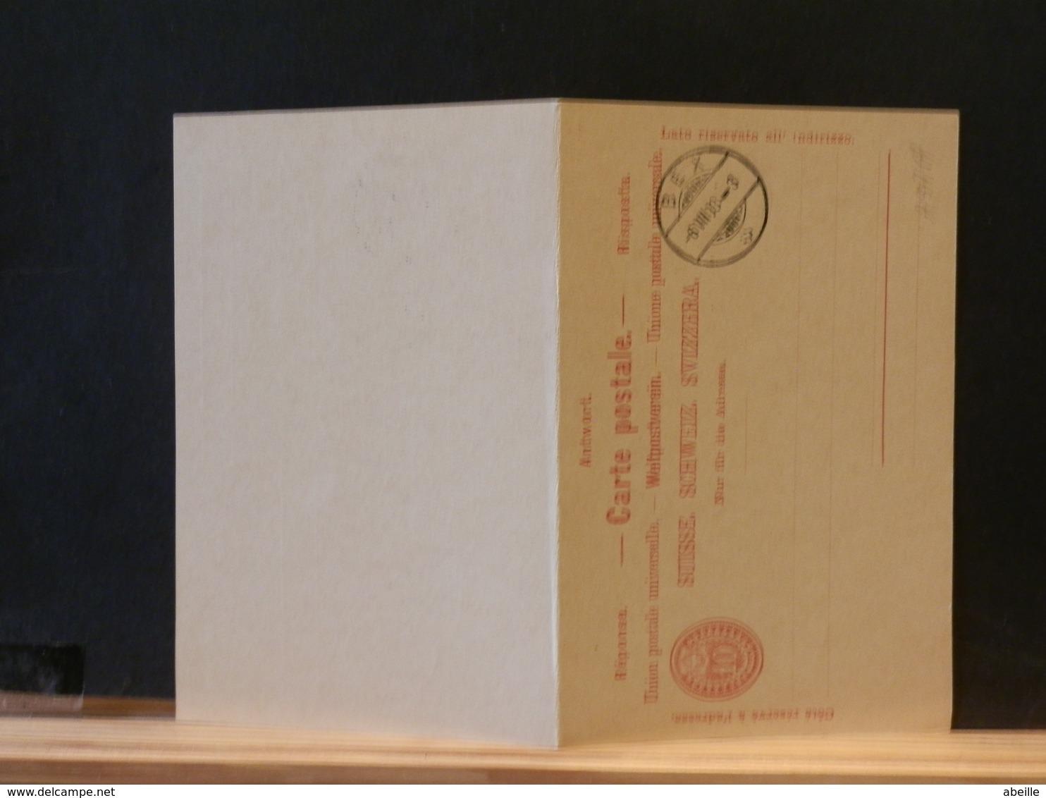 A9717  CP SUISSE AVEC REPONSE  XX  1908 - Entiers Postaux