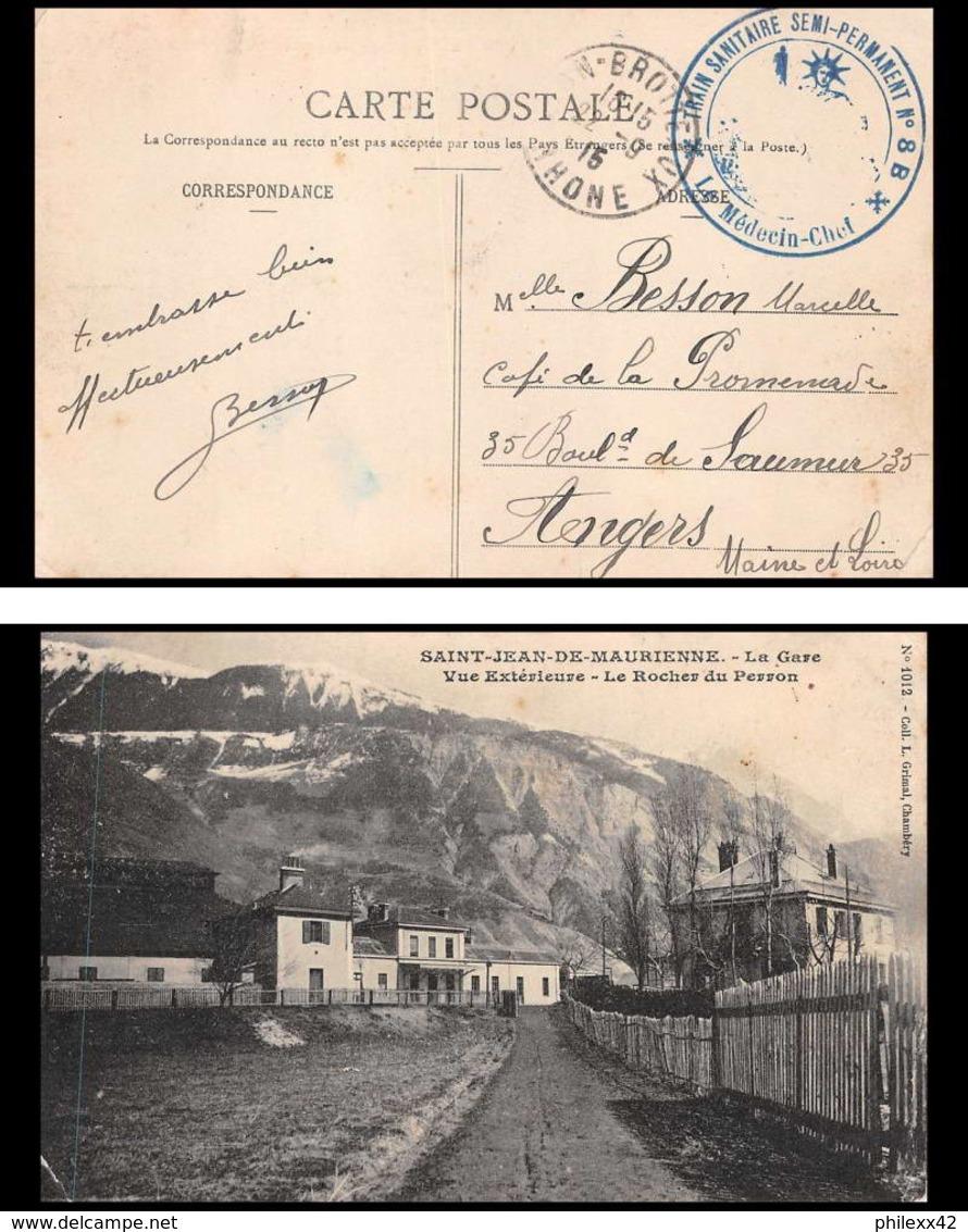 6221/ Carte Postale St Jean De Maurienne La Gare France Guerre 1914/1918 Santé Train Sanitaire Semi Permanent N°2 BRON - Marcophilie (Lettres)