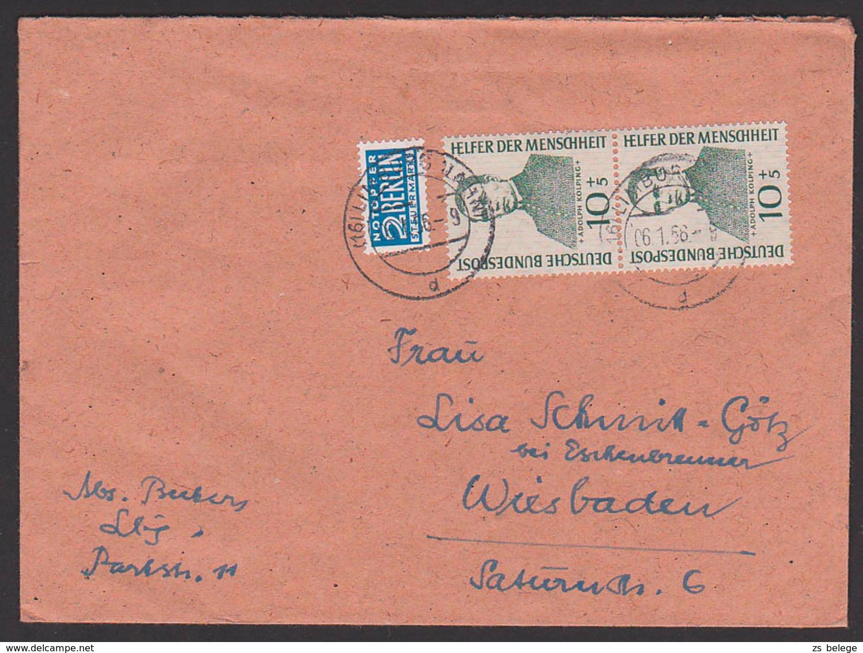 """Adolph Kolping Katholischer Gesellenverein MiNr, 223(2) HdM 1955 Mit NO, Vignette """"Schreibt öfter Nach Drüben - ...! - Briefe U. Dokumente"""