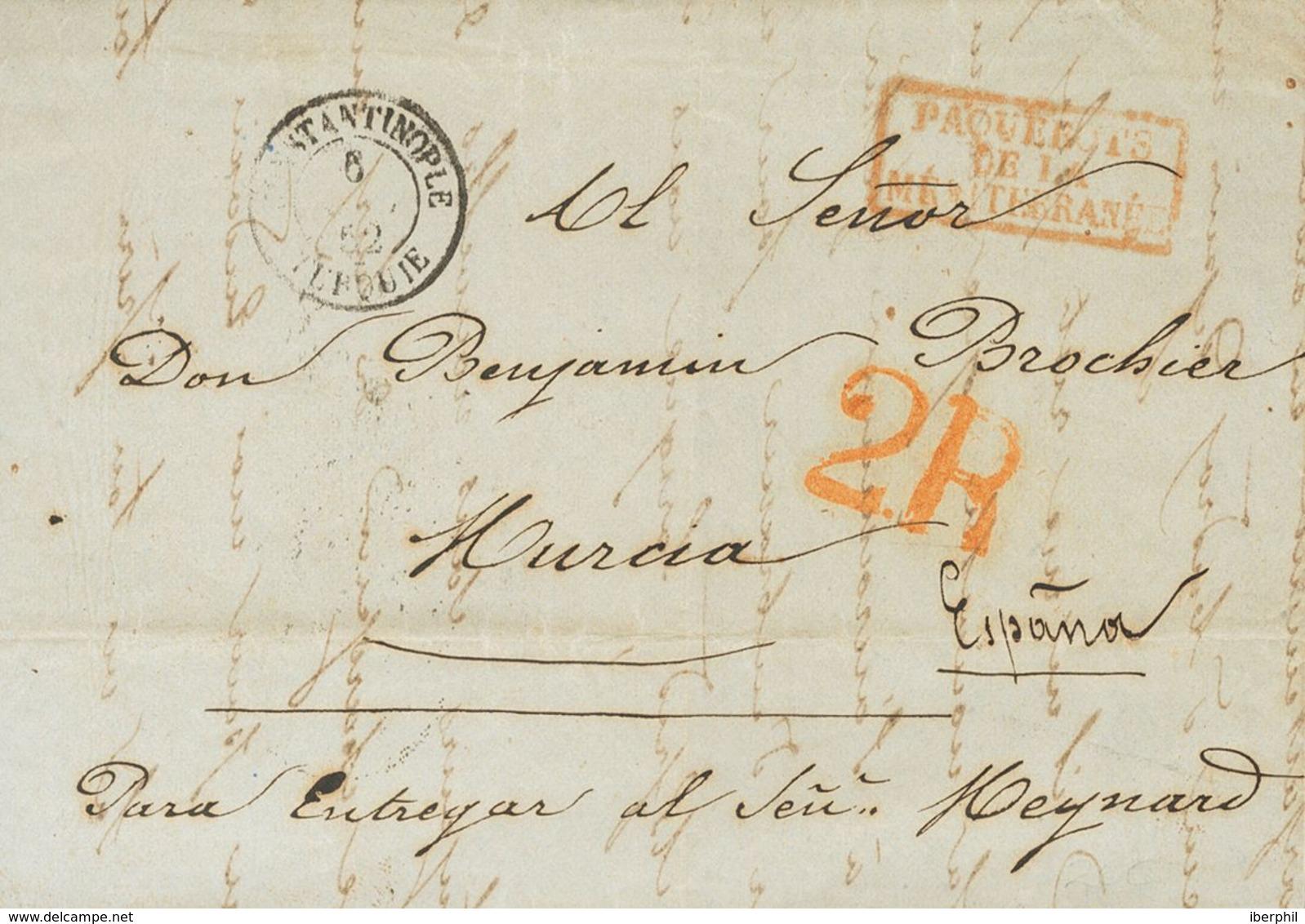 French Levant. COVER. 1852. CONSTANTINOPLE To MURCIA. Cds CONSTANTINOPLE / TURQUIE, Mark PAQUEBOTS / DE LA / MEDITERRANE - Levant (1885-1946)