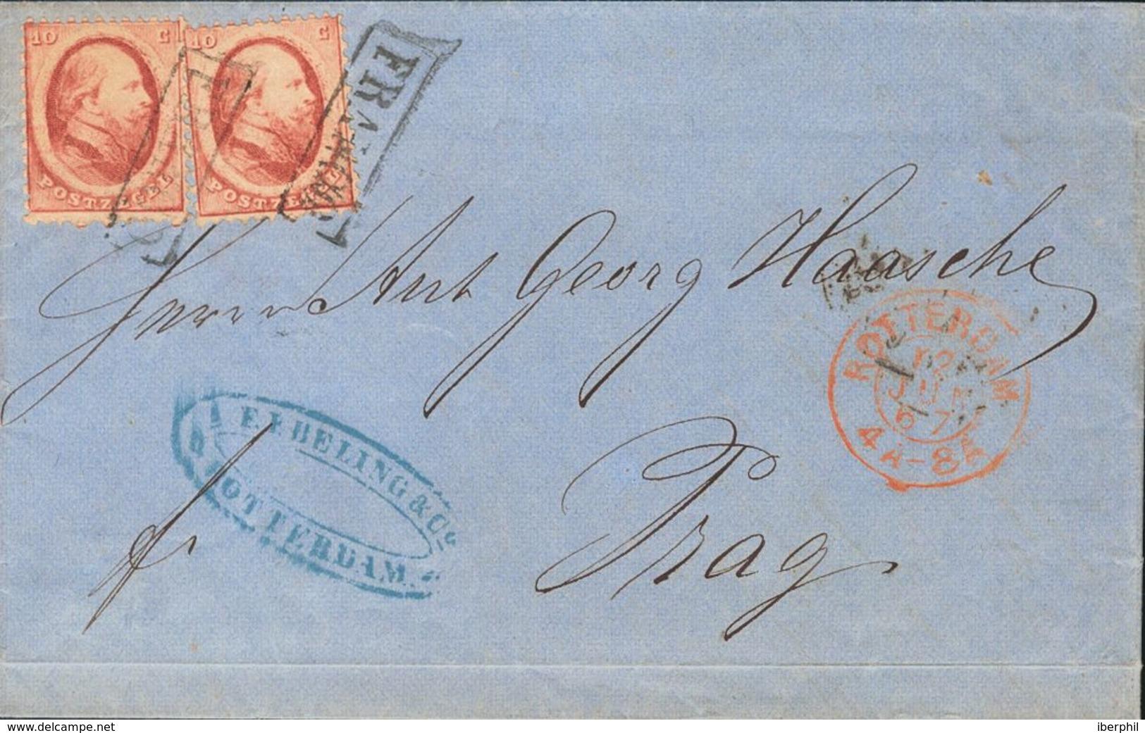 Holanda. SOBREYv . 1867. 10 Cent Red, Two Stamps. ROTTERDAM To PRAGUE (present Day CZECH REPUBLIC). VERY FINE. (NVPH 5). - ...-1852 Precursores