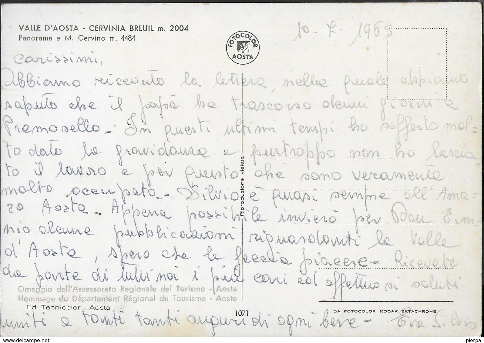 VALLE D'AOSTA - CERVINIA - BREUIL - PANORAMA - SCRITTA AL RETRO E DATATA 1965 - Altre Città