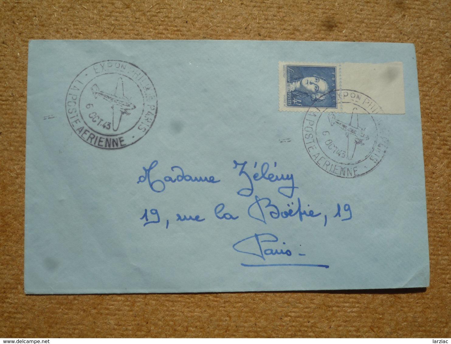 Timbre N° 581 Lavoisier Seul Sur Enveloppe Oblitération Exposition Philatélique Poste Aérienne Paris 1943 - Poststempel (Briefe)