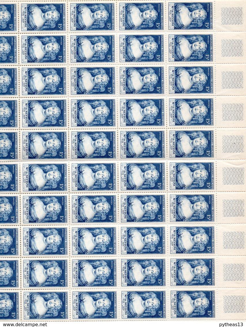 FRANCE N°874 Mme De SEVIGNE Feuille De 50 Exemplaires, Sans Charnière SUP - Neufs